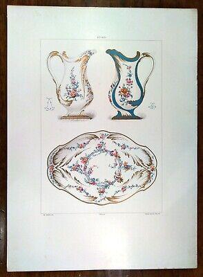 Stampa antica PORCELLANA DI SEVRES BROCCHE E VASSOIO 1889 Old antique print