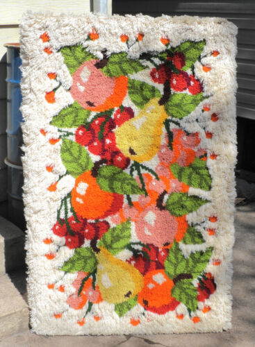 Large Vintage Mid Century Modern Floral Fruit Crochet Wall Tapestry