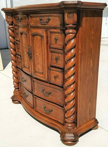 AICO MICHAEL AMINI English Style Barley Twist Highboy Dresser Solid Wood