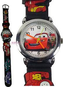Disney-Pixar-Cars-Lightning-McQueen-Children-Kids-3D-Quartz-Wrist-Watch-Black