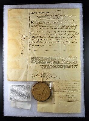 1793-Georgia(Washington County) Land Deed-Signed by Governor Edward Telfair-RARE