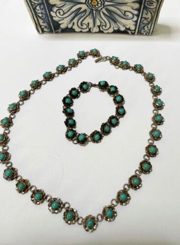 VTG Mexican 925 Sterling Silver Flower Link Necklace & Bracelet Set