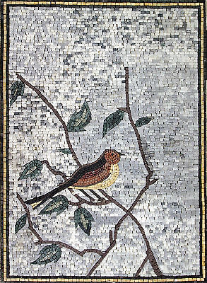 Little Cute Tile (Cute Little Bird Standing On A Tree Branch Tile Stones Marble Mosaic AN490 )