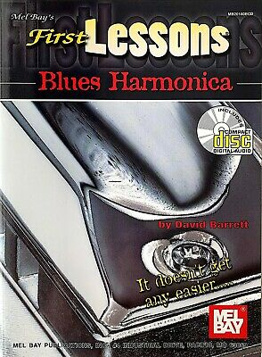 FIRST LESSONS BLUES HARMONICA by DAVID BARRETT- METHOD BOOK/CD SET- NEW! Method Book Cd Set