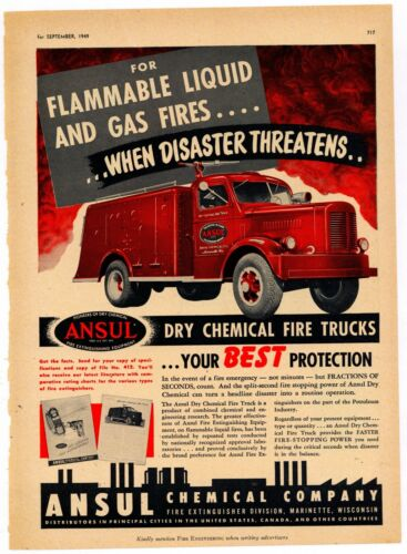 1949 Ansul Chemical Co. Ad: Dry Chemical Fire Trucks - Marinette, Wisconsin