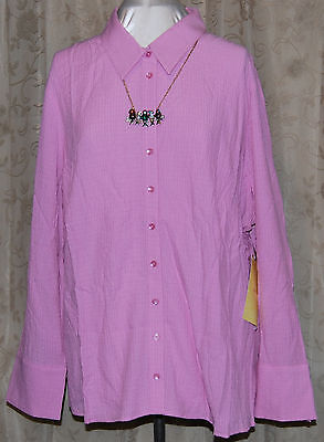 QVC ME BY EMME 3X PRETTY TEXTURED FOLD UP CUFF BUTTON FRONT SHIRT LIGHT VIOLET (Cuff Me Up)