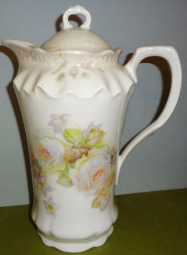 c1890-1910 GERMANY #187 tall CHOCOLATE POT with OPEN ROSES - NICE!