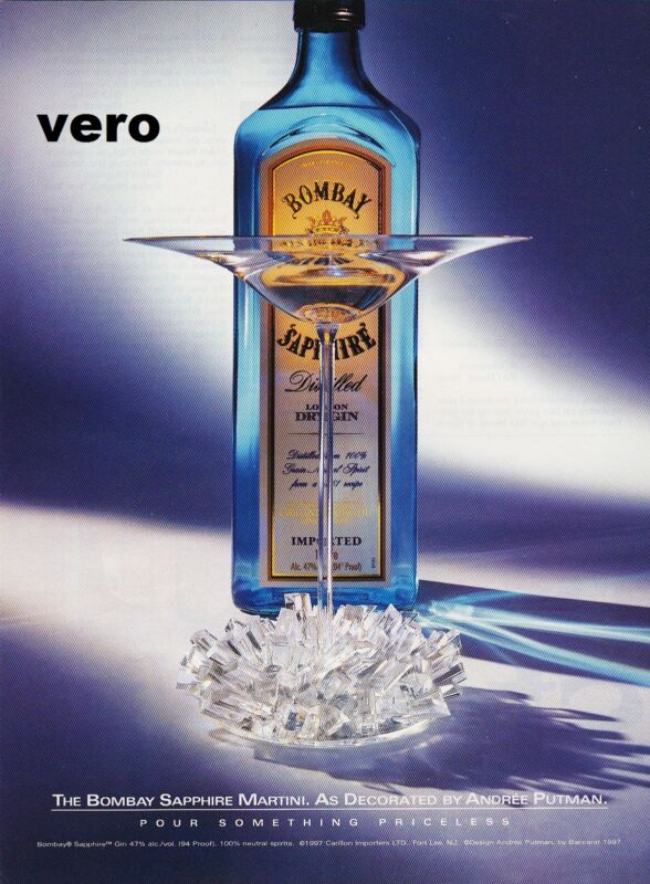 BOMBAY SAPPHIRE 1998 magazine ad London Dry Gin alcohol advertisement print vtg