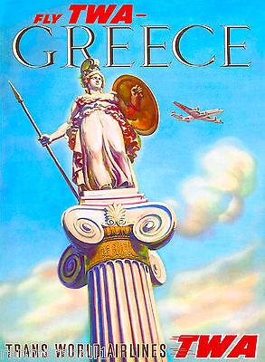 Greece Greek Statue Europe European Vintage Travel Advertisement Art Poster