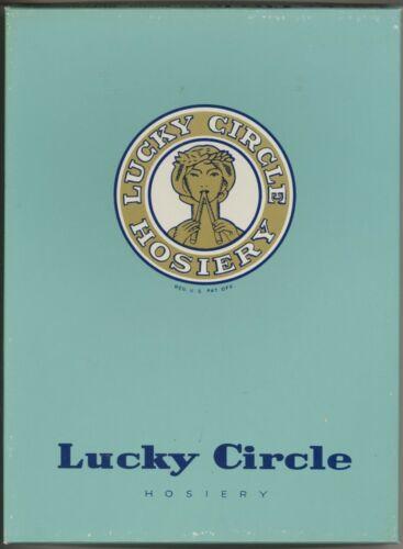 "Vtg 3 pr 1 box Lucky Circle Stockings PUFF O SMOKE 558 X Long 11 x 38"" Brown"