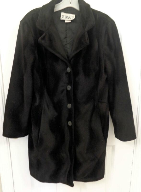 ***Pretty, Unique Wave Pattern Black Coat, Size L, by Silhouette!***