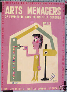 Francis bernard affiche ancienne salon des arts menagers paris circa 1960 ebay - Salon des arts creatifs paris ...