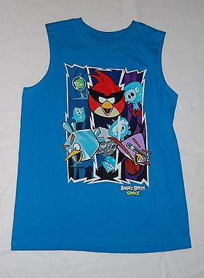Boys Sleeveless Shirt ANGRY BIRDS IN SPACE Turquoise Muscle Tee SIZE 14-16