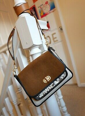 Tory Burch Vintage Brown Suede+ Snake Leather bag  RRP £385