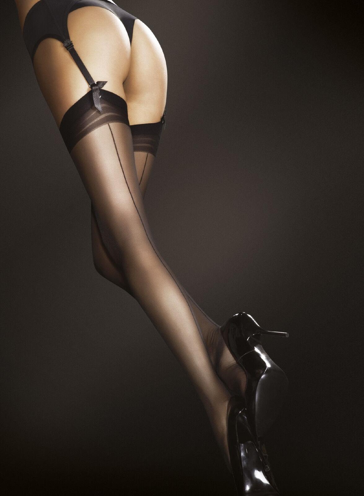 Bas nylon couture pour porte-jarretelle femme sexy Fiore marlena 20 den T2 T3 T4