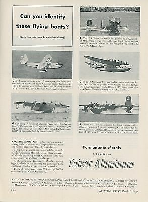 1949 Kaiser Aluminum Aircraft Ad Flying Boats Seaplanes Sikorsky S-42 Convair +