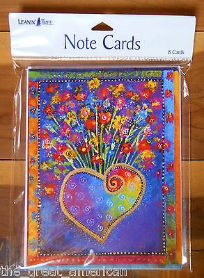 8 Leanin Tree Note Cards Bright Colorful Heart w Flowers - Laurel Burch Made USA ()
