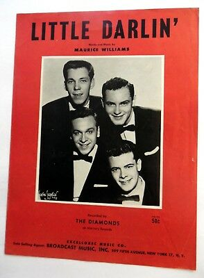 The Diamonds Sheet Music Little Darlin Broadcast Publ  Doo Wop Group Vocal  84