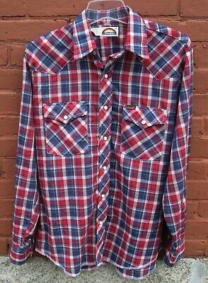 1970s Men's Shirt Styles – Vintage 70s Shirts for Guys Vintage 1970's Wrangle Western Plaid Pearl Snap-Button Shirt sz M Made in USA  $19.95 AT vintagedancer.com