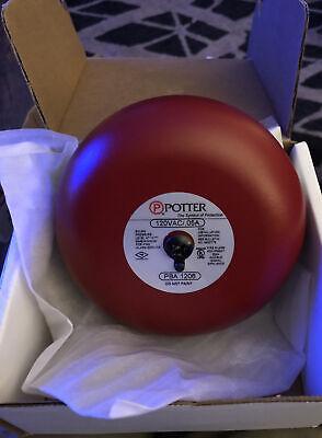 Potter Fire Alarm 6 Red Bell Pba-1206 120v Ac 1806120 Bonus Wall Bracket Nos