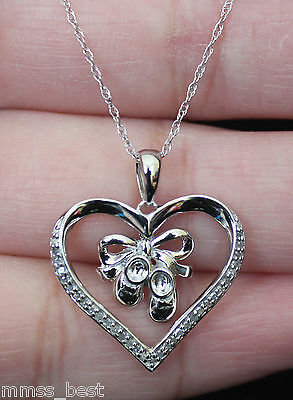 Baby Shoes Heart Necklace - New 10K Diamond Baby Shoes Heart Mom Necklace Dangle pendant White Gold w/ Chain