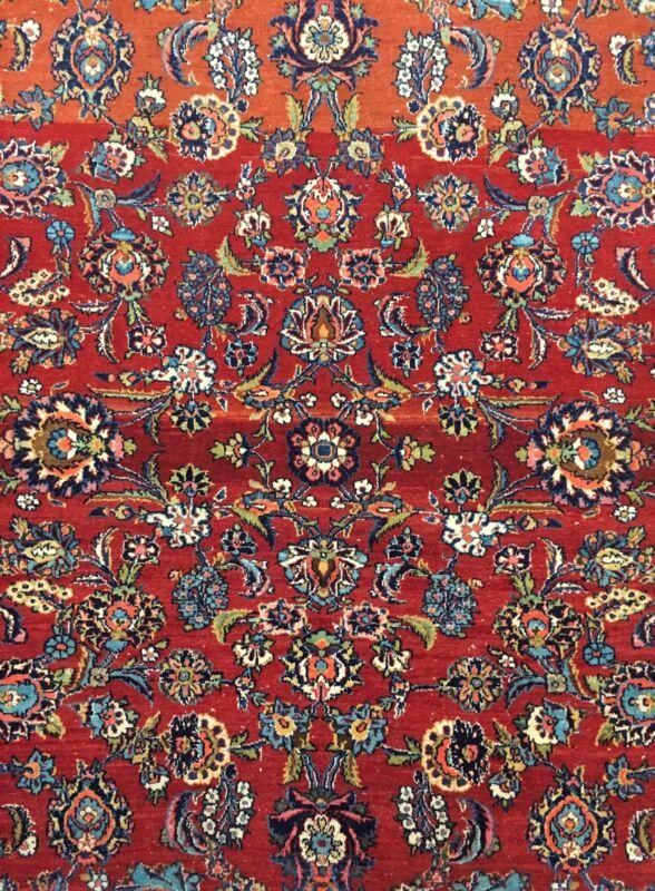 Fantastic Floral - 1930s Antique Oriental Rug - Handmade Carpet - 7.3 X 10 Ft
