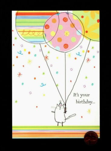 BIRTHDAY Cat Drawing Hat Balloons Confetti - Greeting Card - New W/ TRACKING
