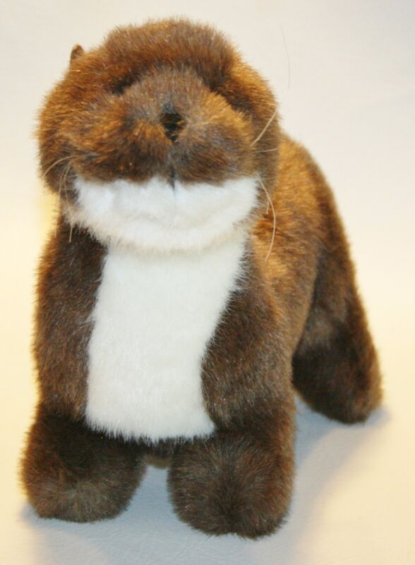 "Rare RIVER OTTER 17"" Plush K&M Stuffed Animal lovey Brown and White"