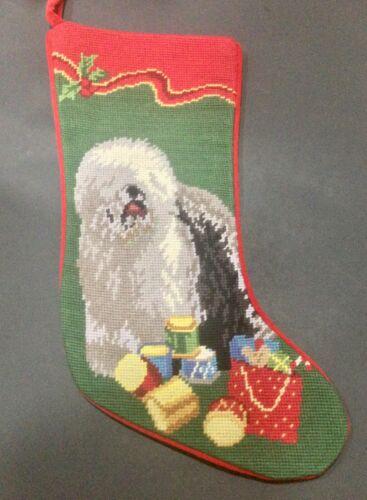 Gorgeous Old English sheepdog needlepoint stocking- not a kit