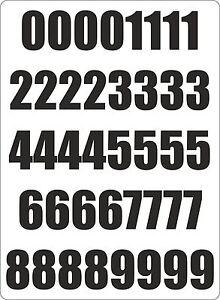 Number sheet sticker vinyl decal car bike door wheelie bin black race