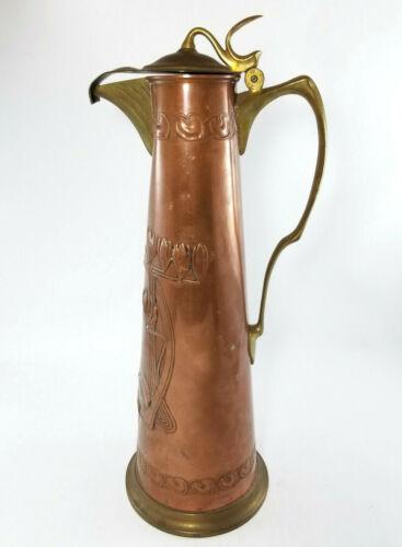 Carl Deffner Art Nouveau Copper And Brass Claret Wine Jug Esslingen Germany