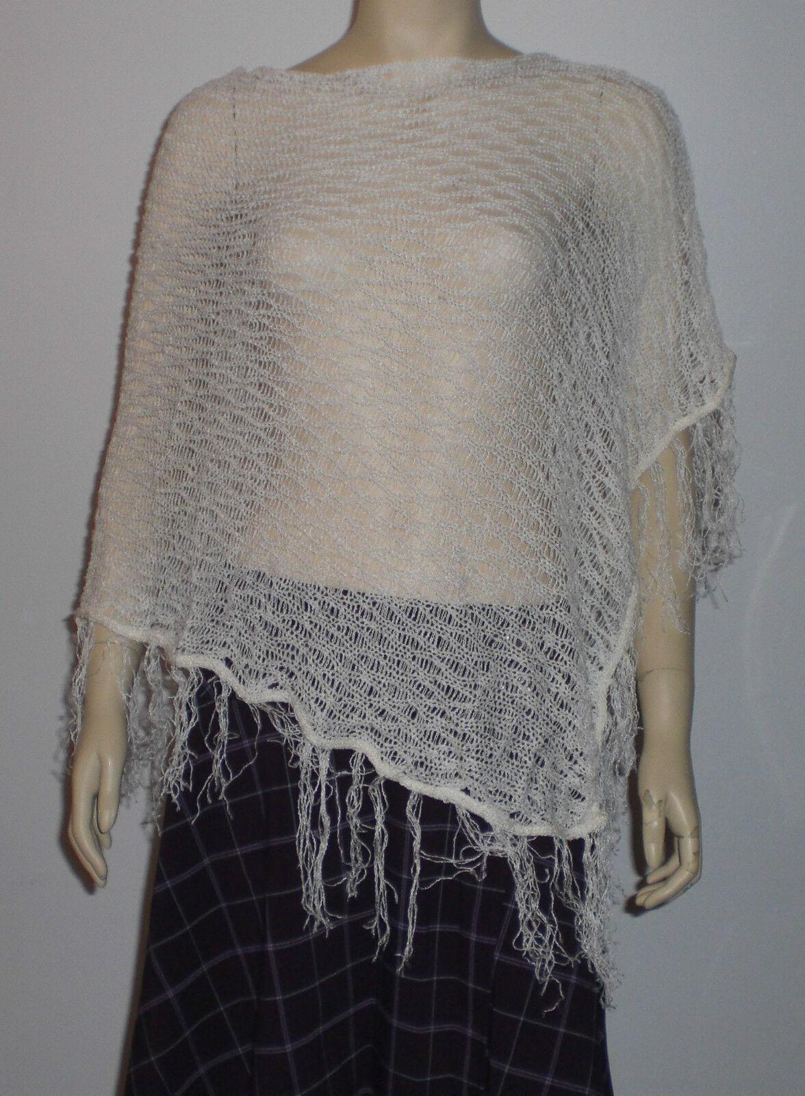 Bebe $69 White One Size Asymmetrical Knit Poncho Shawl Wrap Cover Up Fringe