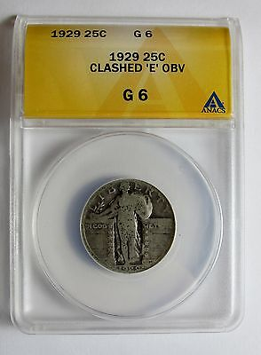 1929 P STANDING LIBERTY QUARTER DIE CLASHED E OBVERSE ERROR ANACS G6