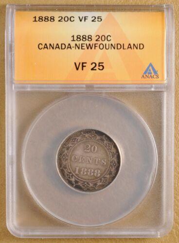 1888 Canada Newfoundland Silver 20 Cents ANACS VF 25