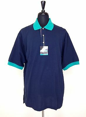 New Tri Mountain Mens Xl Contrast Trim Polo Golf Shirt Navy Blue Green Nwt