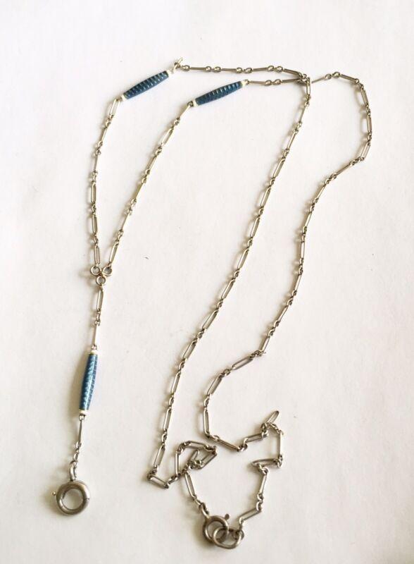 Antique Platinum Chain With Blue Enamel