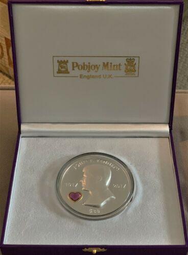 2017 JFK 100 yr Ann. 5oz Silver PR & Swarovski Crystal  Pobjoy Mint