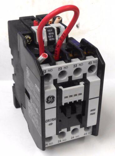 GENERAL ELECTRIC CONTACTOR CR7RA, 20 AMP, 3 PH, 120/110 VAC, 2NO/2NC