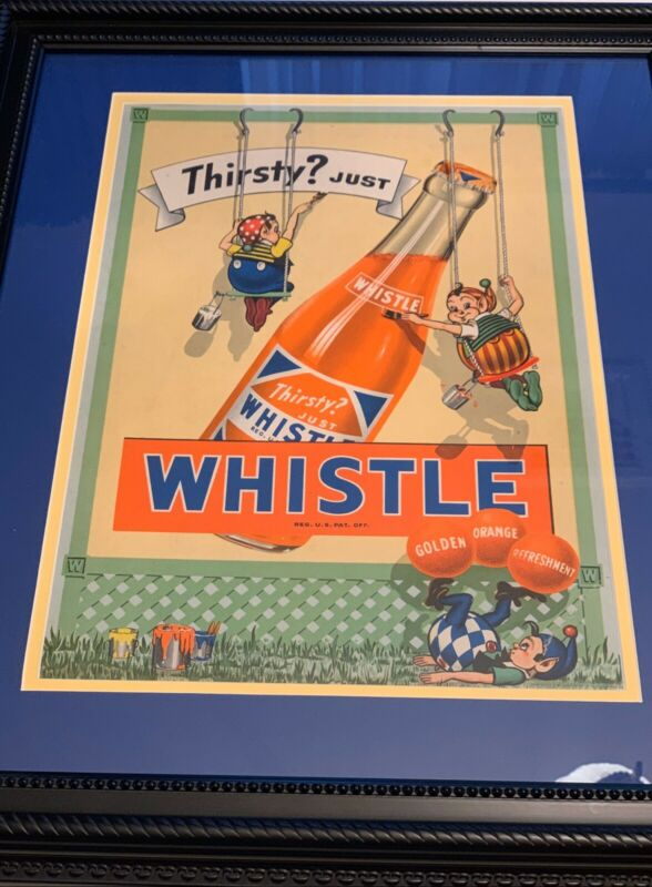 Whistle Orange Soda Elves Framed Cardboard Sign