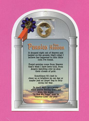 """Pennies From Heaven"" - Poem - Verse Card w/  Angel Penny - SKU# 726 A"
