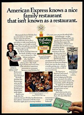 1973 American Express Card Holiday Inn Family Restaurant Vintage Print Ad 1970S