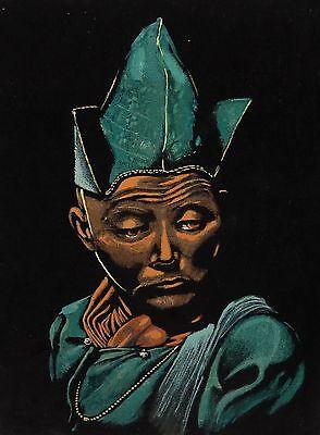 - JAPANESE SOILDER ORIGINAL ACRYLIC ON BLACK VELVET PAINTING UNSIGNED