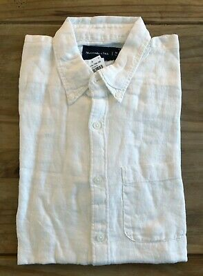 Abercrombie and Fitch Mens White Linen Shirt - Small
