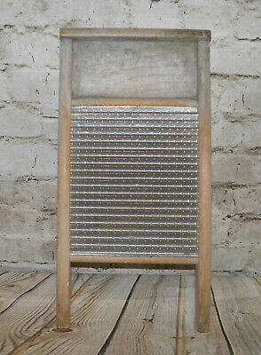 VINTAGE FEDERAL WASHBOARD CO NO 46 BABY GRAND WOOD FRAME GALVANIZED