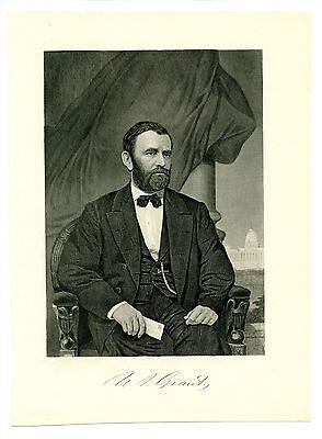 ULYSSES S GRANT, Civil War General/Lee/Appomattox/US President, Steel Engraving