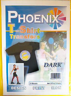 5 Pack of A4 Iron on T-Shirt TRANSFER PAPER for DARK fabrics For Inkjet Printers