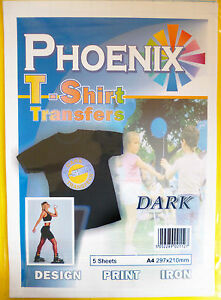 5-Pack-of-A4-Iron-on-T-Shirt-Transfer-Paper-for-DARK-fabrics-For-Inkjet-Print