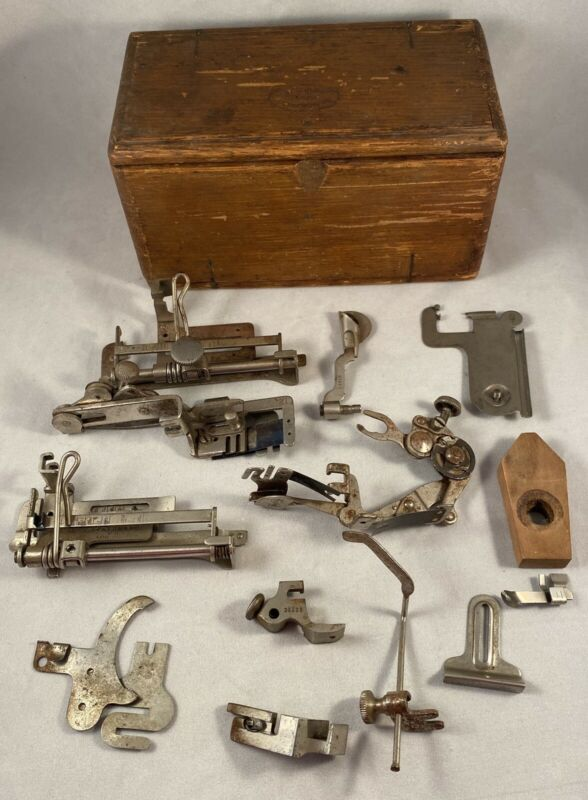 Vintage Antique Wooden Folding Sewing Machine Accessories Box with Many Parts