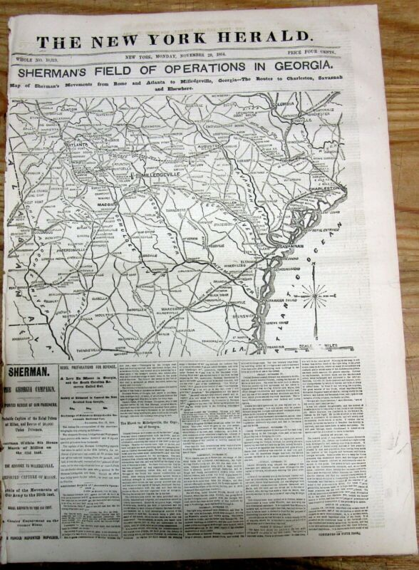 Best 1864 Civil War newspaper w MAP & headline SHERMAN