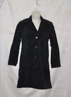 Linea by Louis Dell'Olio Suede Coat with Chevron-stitch Size S Black